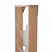 Wall mounted magazine rack with a wooden frame and plastic pockets