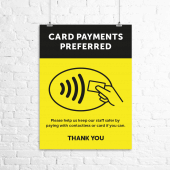 'Card payments preferred' printed poster