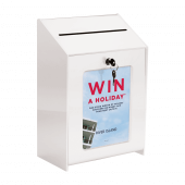 White Suggestion Box with Lock and A5 poster holder