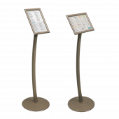 Curved signage stand with adjustable sign holder (Earth)
