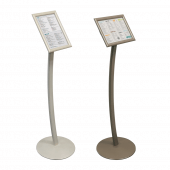 Premium Curved Signage Stand in Earth and White Pearl