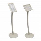 Curved Signage Stand adjustable to portrait or landscape