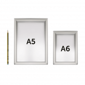 Snap Frame Silver available as both A6 and A5 click frames