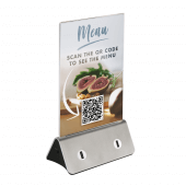 Silver Menu Holder with USB Charging Points and QR code insert