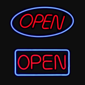 Premium Neon Effect LED Open Sign - Oval and Rectangle