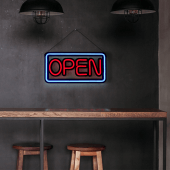 A neon style open sign gives a professional and eye catching appearance