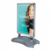 Use with waterproof outdoor posters with pavement signs