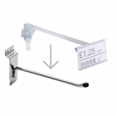 Overarm ticket holder for merchandising hooks