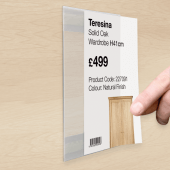 Self adhesive label holders are ideal for displaying prices