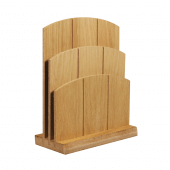 Double tiered wooden menu holder