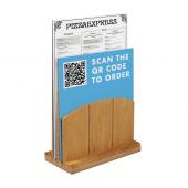 Wooden Menu Holder with QR code menu insert