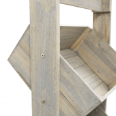 Wooden Display Crate Stand with angled crate shelving