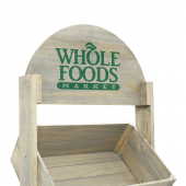 Wooden Crate Display Stand with optional branded header space