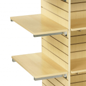 Slatwall Shelving with Brackets in use