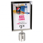 Optional stainless steel A4 poster holder attaches to silver posts