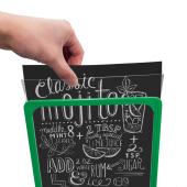 The showcard stands are available with optional chalkboard inserts