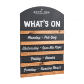 A sliding chalkboard makes a great specials board or events guide