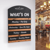 Our sliding display chalkboard is ideal for use in pubs, cafes and bars
