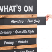 Pub chalkboard display is easy to update