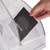 Scoop bin food dispenser with label holder