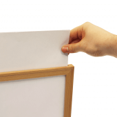 Your poster or insert slides into place using the open top slot