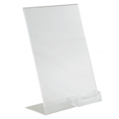 Freestanding acrylic poster display with business card pocket