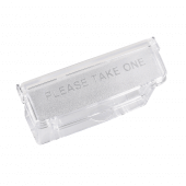 Auto shut lid marked with 'please take one'