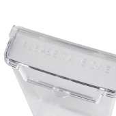 Leaflet holder with hinged lid