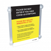 Window sign holder available with optional poster on virus symptoms