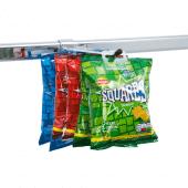 Single merchandising hook for twinslot displays