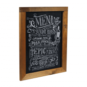 The rear panel includes a chalkboard for your messages