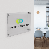 Acrylic Business Plaque with a logo on a clear background