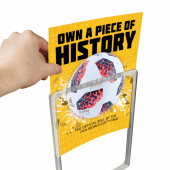 Easily slide your showcard into the frame to display promotional information
