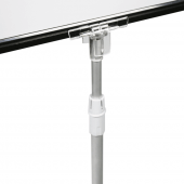 Showcard stand pole clip allows for portrait or landscape use