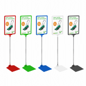 Plastic frame poster stands with coloured bases