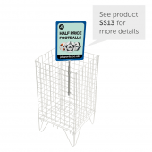 Wire dump baskets can be used with showcard holders to display promotions