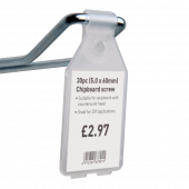 Clear pocket swing tags for use with merchandising hooks