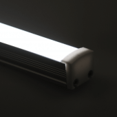 The magnetic LED light bar has a soft white glow