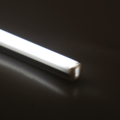 LED shelf lights with a white soft glow to illuminate products
