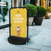 Swinging signs are ideal for outdoor retail and hospitality displays