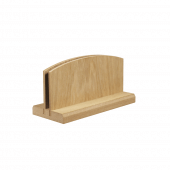 Wooden menu holder with a natural finish