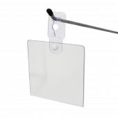 Flexible clothes rail sign holder will also suit merchandising hooks