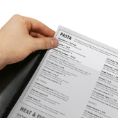 Menu cover supplied with plastic insert to hold up to four A4 sheets