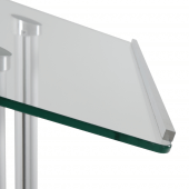 This lectern features a robust tempered glass display area