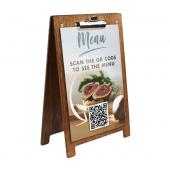 Wooden A Frame Clipboard Menu Holder with QR code menu insert