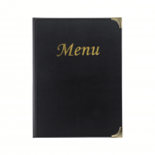 Traditional menu folder with metallic gold text and reinforced corners