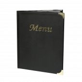 Each menu cover is fitted with clear plastic menu sleeves