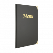 This traditional menu cover has a wipe clean PVC finish