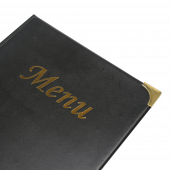 The menu cover corners are metal reinforced for durability