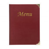 This traditional menu folder has a wipe clean PVC finish
